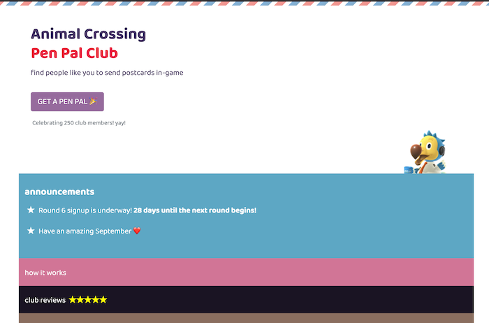 animal crossing pen pal club homepage